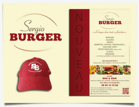 Sergio Burger - Création de logo, casquette et flyer